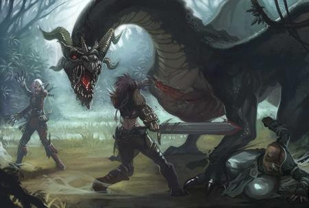 battle dagger dnd dragon elf high_res horns monk paizo pathfinder sword wings // 1680x1132 // 99.8KB