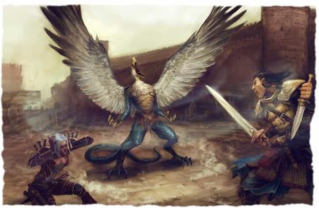 armor battle demon dnd elf fighter paizo pathfinder sword tail vrock wings // 1680x1098 // 119.3KB