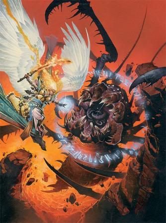 angel battle dnd fire paizo paladin pathfinder sword wings // 500x674 // 141.6KB