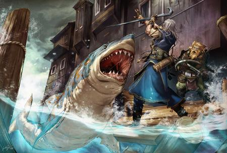 beard crossbow dnd dwarf gray_hair high_res paizo pathfinder shark wizard // 1500x1012 // 168.1KB