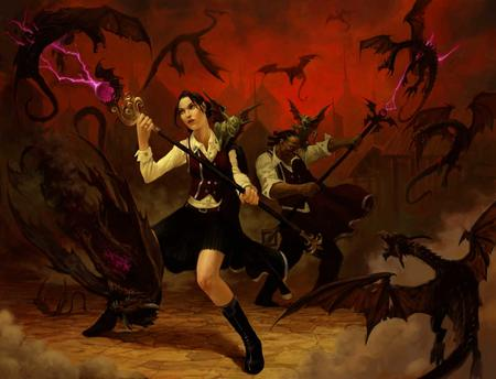 battle brunette dnd dragon paizo pathfinder skirt staff vest // 1500x1147 // 96.0KB