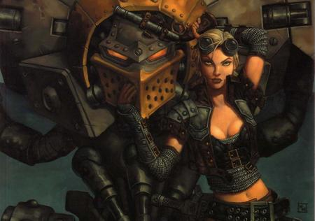 blonde chainmail cleavage devil_dog gun ik jacket nomad samantha_machorne warjack warmachine // 1218x854 // 105.1KB