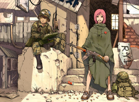 backpack boots desktop helmet pink_hair poncho redhead rifle ruins uniform // 850x625 // 247.4KB