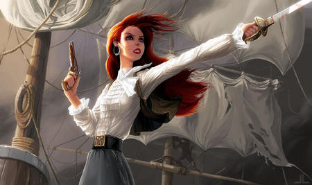 gun long_hair pirate redhead sword // 912x541 // 102.2KB