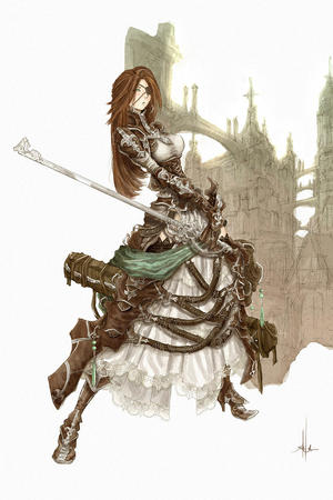 boots brunette dress eyepatch gloves long_hair sword // 832x1250 // 289.8KB