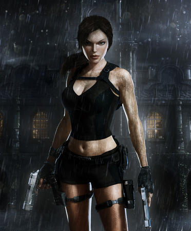 brown_eyes brunette cg gloves gun high_res lara_croft ponytail rain shorts short_shorts tank_top // 2700x3266 // 1.3MB