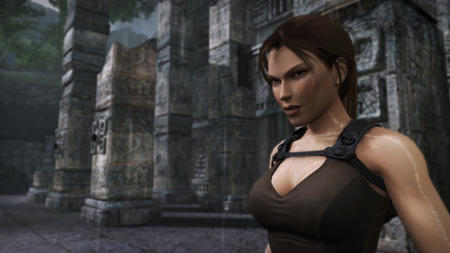 brown_eyes brunette cg high_res lara_croft ponytail ruins tank_top // 5120x2880 // 1.3MB