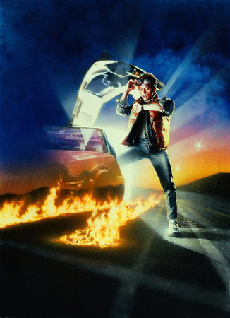 1980s back_to_the_future delorean fire high_res jeans michael_j_fox movie poster vest // 2175x3000 // 2.8MB
