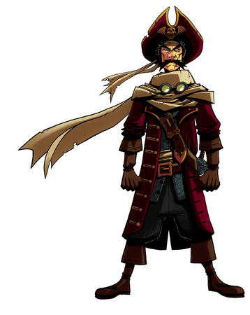 boots gloves goggles hat mustache pirate scarf sword // 795x1000 // 274.0KB