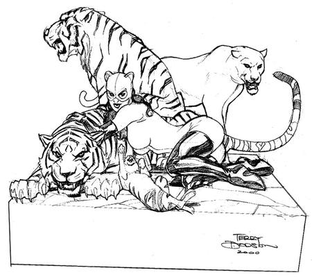 boots bw catwoman cowl dc gloves lion sketch terry_dodson thighhighs tiger // 700x621 // 128.3KB