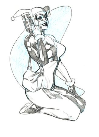 bw dc gloves gun harley_quinn mask purse sketch terry_dodson // 350x482 // 54.2KB