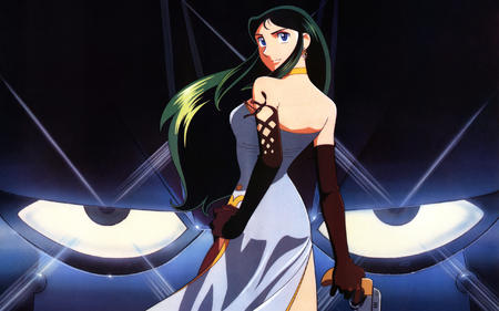 blue_eyes brunette dress giant_robo ginrei gloves gown gun high_res long_hair // 2560x1600 // 1.0MB