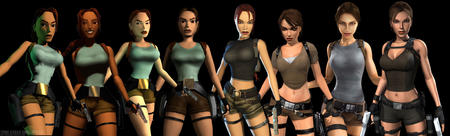brown_eyes brunette cg composite gloves gun lara_croft ponytail shorts short_shorts tank_top // 4298x1300 // 665.8KB