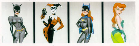 batgirl blue_eyes bruce_timm cape catwoman composite dc gloves gun harley_quinn mask poison_ivy redhead // 1028x344 // 105.3KB