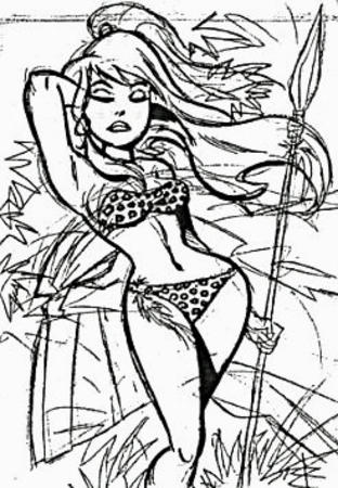 barbarian bare_shoulders bruce_timm bw long_hair low_res ponytail sheena sketch spear // 246x355 // 47.1KB