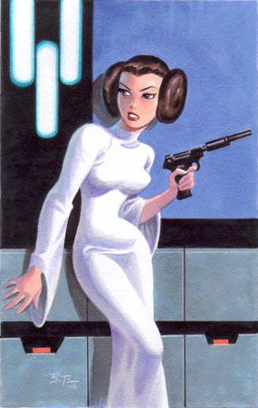 brown_eyes bruce_timm brunette dress gun princess_leia star_trek // 350x552 // 62.6KB