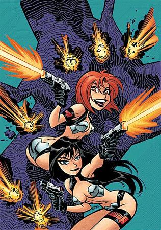 blue_eyes bruce_timm brunette dirty_pair gun kei long_hair redhead yuri // 400x570 // 94.1KB