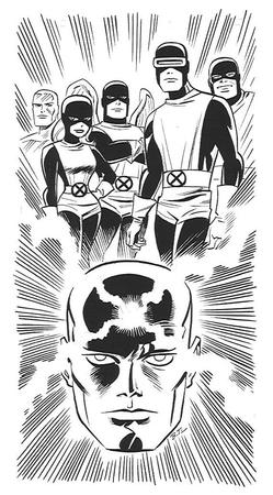 angel beast bruce_timm bw cyclops group iceman marvel marvel_girl professor_x x-men // 500x905 // 141.0KB