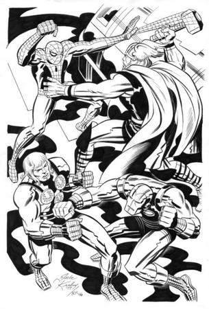 bruce_timm bw iron_man kirby marvel spider-man thor // 441x650 // 70.6KB