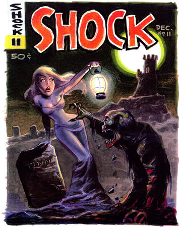 blonde blue_eyes bruce_timm cover dress grave lantern moon shock undead // 700x887 // 199.7KB