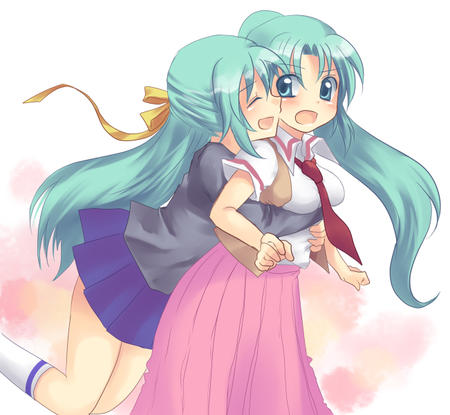 blush green_hair higurashi hug mion necktie shion skirt // 651x600 // 210.2KB