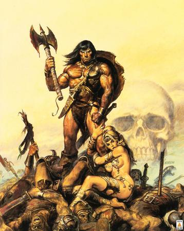 axe barbarian blonde conan shield skull sword // 1035x1300 // 203.9KB