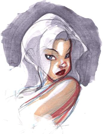 bare_shoulder blue_eyes sketch terry_dodson white_hair // 345x450 // 59.7KB
