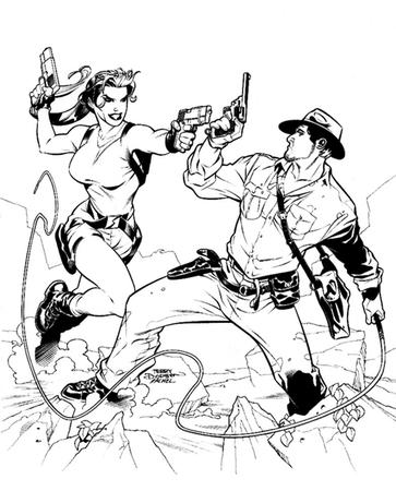 boots bw gloves gun hat indiana_jones lara_croft short_shorts shorts terry_dodson tom_raider whip // 500x619 // 97.1KB