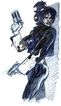 brunette bw gloves gun jacket sketch terry_dodson viva // 312x544 // 88.4KB