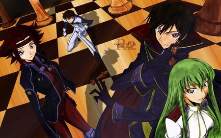 blue_eyes brunette cc cape chess code_geass desktop green_hair jacket jumpsuit kallen lelouche long_hair redhead suzaku // 1680x1050 // 610.9KB