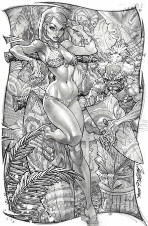 barbarian bikini book bw cleavage danger_girl jungle_girl sandals scott_campbell // 900x1378 // 272.4KB