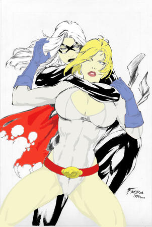 black_cat blonde cleavage dc gloves marvel mask oppai power_girl // 537x800 // 251.7KB