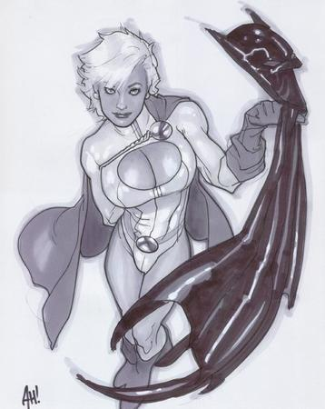adam_hughes batman blonde boots bw cape cleavage cowl gloves oppai power_girl // 600x754 // 56.4KB