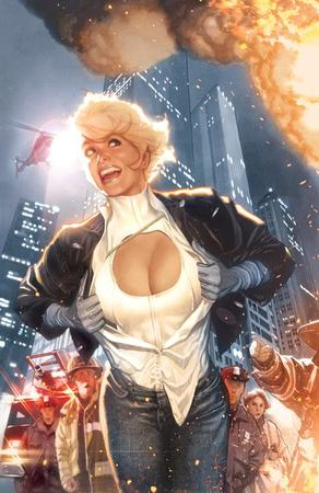 blonde cleavage cover dc fire gloves jacket jeans open_shirt power_girl skyline // 477x734 // 66.6KB