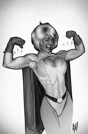adam_hughes blonde bw cape cleavage dc gloves power_girl wink // 400x604 // 27.4KB