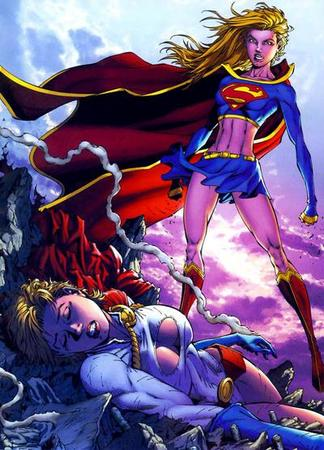 blonde boots cape cleavage dc gloves power_girl rubble skirt supergirl // 400x556 // 57.2KB