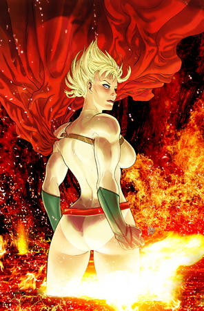 blonde blue_eyes butt cape dc fire gloves power_girl // 1031x1566 // 1.1MB