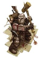 backpack bald beard dnd dwarf hammer horn // 400x581 // 52.8KB