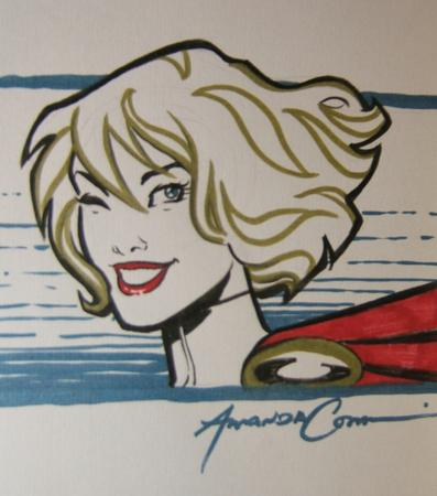 amanda_conner blonde blue_eyes blurry cape dc power_girl sketch wink // 1103x1250 // 831.4KB