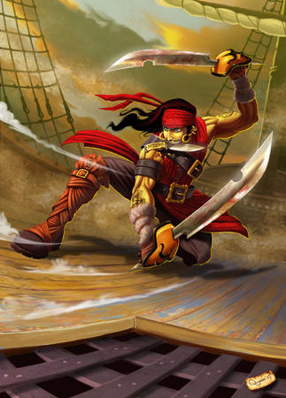 blue_eyes boots brunette cutlass dagger long_hair mustache pirate sword // 600x836 // 148.9KB