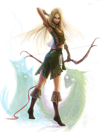 blonde boots bow elf gloves long_hair skirt vest // 800x1017 // 239.0KB