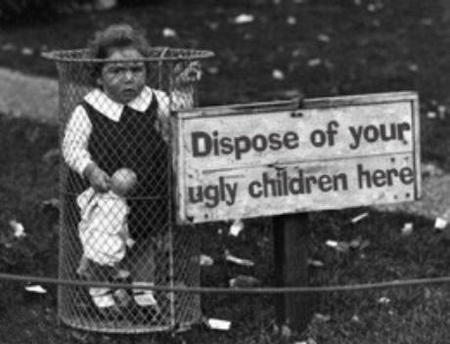 bw doll humor sign ugly_children // 460x352 // 60.2KB
