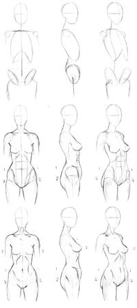 bw composite female how-to-draw sketch // 800x1800 // 107.6KB