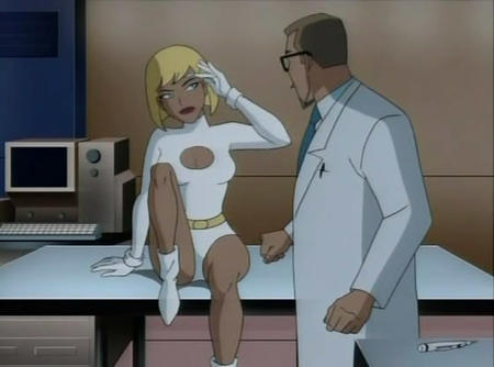blonde blue_eyes boots dc galatea glasses gloves lab_coat necktie screenshot // 560x416 // 34.9KB