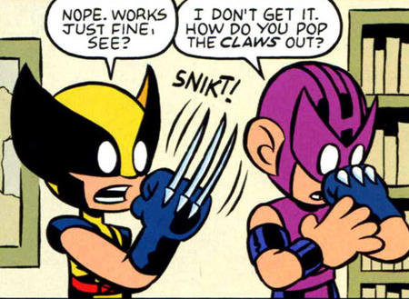 hawkeye humor marvel snikt super_deformed wolverine // 566x414 // 120.0KB
