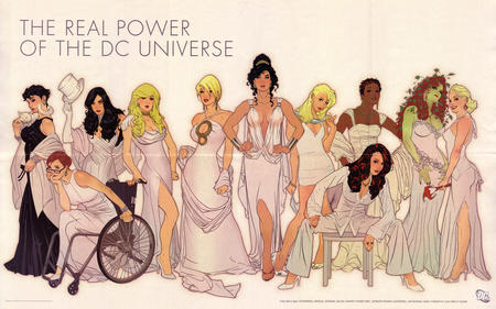batwoman blonde brunette cat catwoman cleavage dc glasses gloves gown group harley_quinn hat high_heels oracle poison_ivy power_girl redhead supergirl wheelchair wonder_woman zatanna // 4500x2807 // 2.6MB
