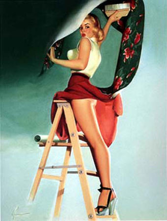 blonde high_heels ladder pinup skirt wallpaper // 427x565 // 43.1KB