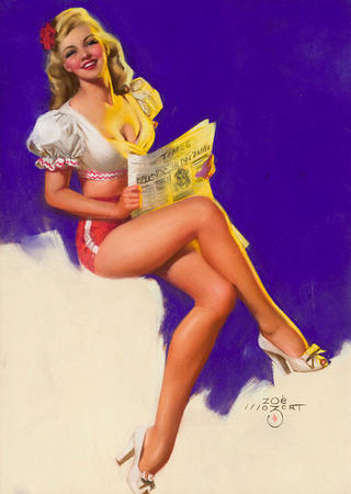 blonde cleavage high_heels newspaper pinup shorts short_shorts // 356x500 // 95.4KB