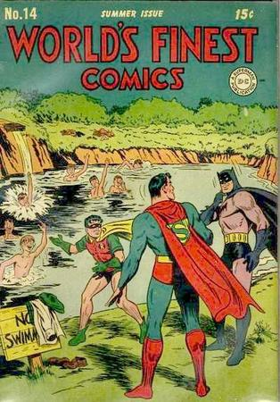 batman cover dc humor pool robin superman swimming // 400x574 // 66.3KB