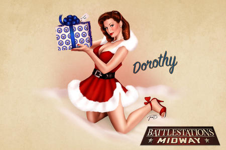 cleavage desktop dress high_heels pinup redhead santa // 3389x2262 // 1.9MB